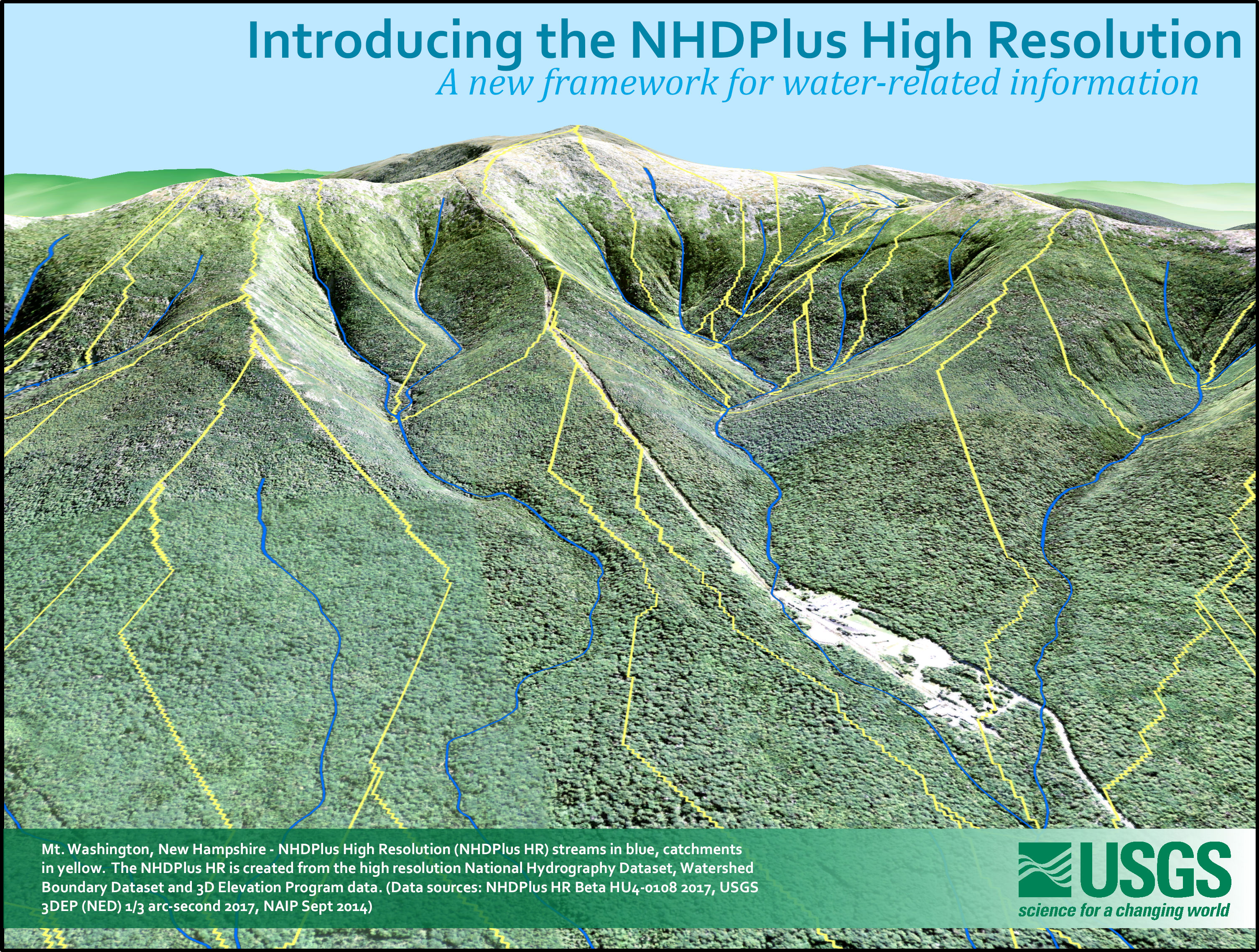 Mt Washington New Hampshire Nhdplus High Resolution Nhdplus Hr Streams In