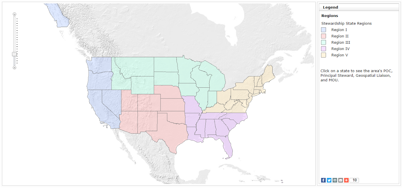 United States map indicating Stewardship state Regions. Click to find your area's NHD and WBD Point of Contact, Technical Point of Contact, Principal Steward, National Map Liaison, and Stewardship MOU